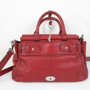 Fossil Red Leather Key Satchel Crossbody Bag